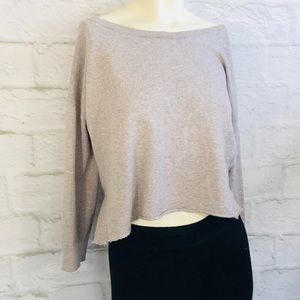 American Eagle Relaxed Knit Crop Sweater Cut Off